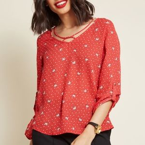 Tops - New Modcloth Kitsch Is It Tab Sleeve Top Red